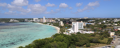 view of Guam with blue water